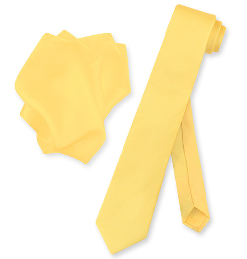 Gold Color Skinny Tie Handkerchief Set   Silk Necktie Hanky Set