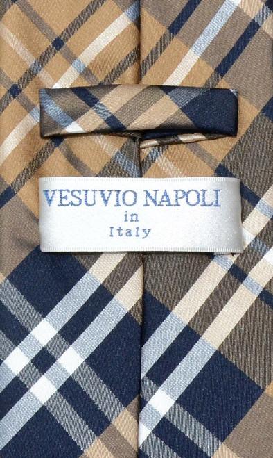 Vesuvio Napoli NeckTie Navy Brown White Plaid Design Mens Neck Tie