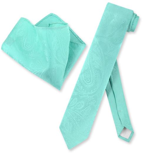Mens Aqua Green Paisley Skinny Tie Hanky Set | Necktie Hanky Set