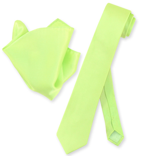 Lime Green Skinny Tie And Handkerchief Set | Silk Tie Hanky Set