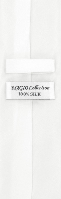 Mens White Skinny Tie Handkerchief Set | Silk Necktie Hanky Set