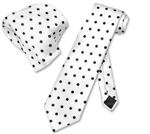 White With Black Polka Dot Skinny Neck Tie And Handkerchief Set