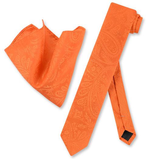 Mens Burnt Orange Paisley Skinny Tie Hanky Set | Necktie Set
