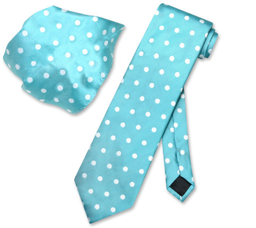 Turquoise Blue White Polka Dot Skinny Neck Tie Handkerchief Set