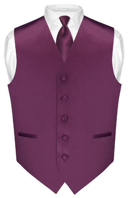 Mens Dress Vest Skinny NeckTie Eggplant Purple Neck Tie Set