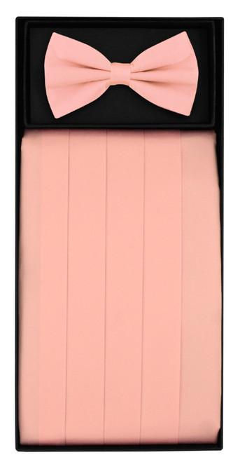 Silk Cumberbund BowTie Solid Pink Color Mens Cummerbund Bow Tie Set