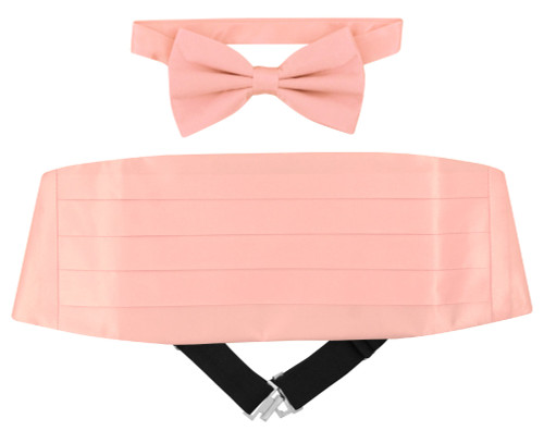 Silk Cumberbund BowTie Solid Pink Color Mens Cummerbund Bow Tie Set