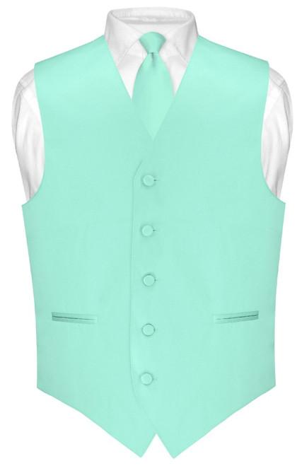 Mens Dress Vest Skinny NeckTie Solid Aqua Green Neck Tie Set