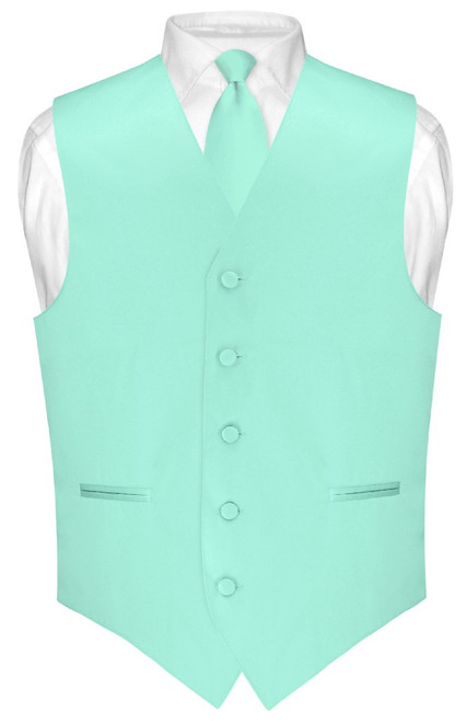 Mens Dress Vest Skinny NeckTie Solid Aqua Green Neck Tie Set