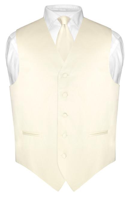 "Mens Dress Vest Skinny NeckTie Solid Cream 2.5"" Neck Tie Set"