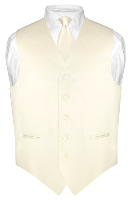 "Mens Dress Vest Skinny NeckTie Solid Cream 2.5"" Neck Tie Set"
