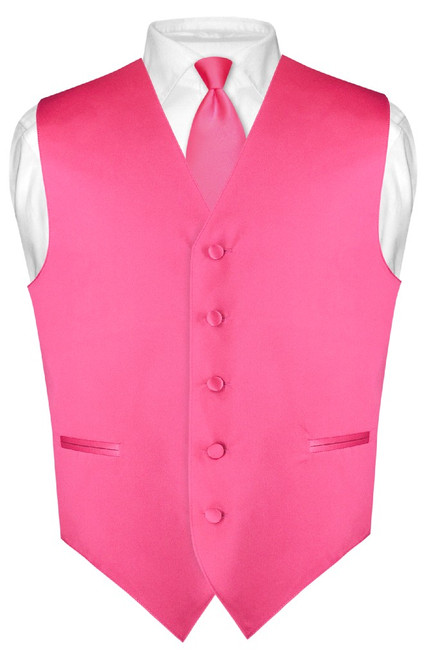 Mens Dress Vest Skinny NeckTie Hot Pink Fuchsia Neck Tie Set
