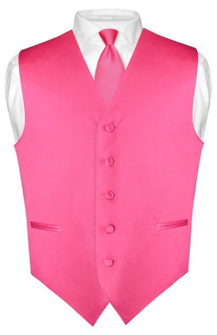 Mens Dress Vest Skinny NeckTie Hot Pink Fuchsia Neck Tie Set