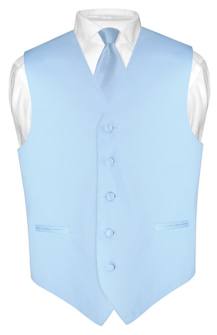 Mens Dress Vest Skinny NeckTie Solid Baby Blue Neck Tie Set