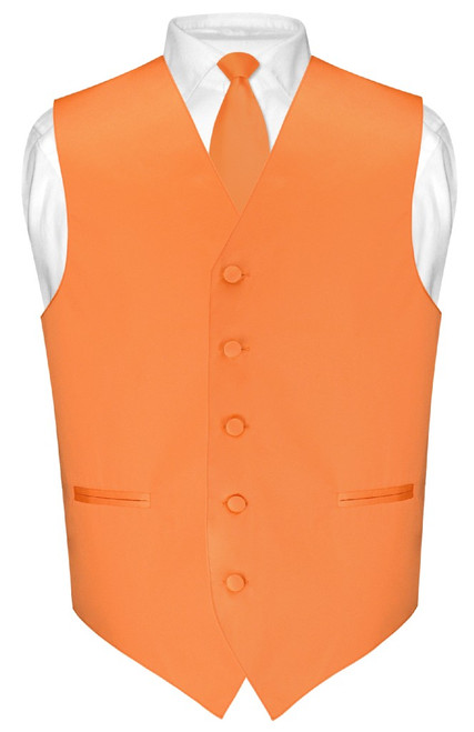 "Mens Dress Vest Skinny NeckTie Solid Orange 2.5"" Neck Tie Set"