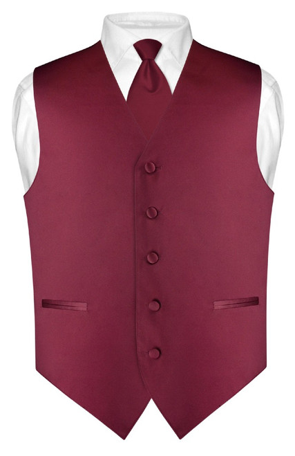 "Mens Dress Vest Skinny NeckTie Solid Burgundy 2.5"" Neck Tie Set"