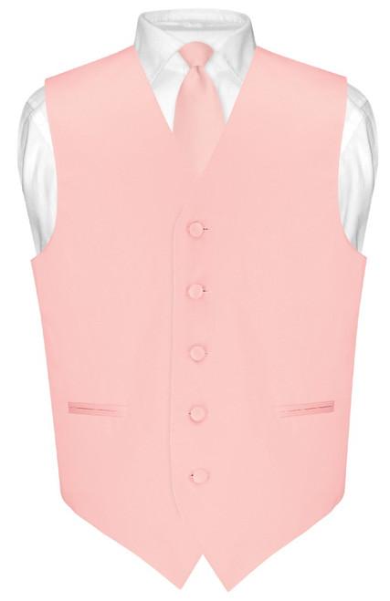 Mens Dress Vest Skinny NeckTie Solid Dusty Pink Neck Tie Set