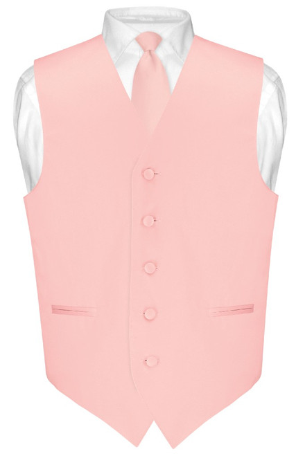 Mens Dress Vest Skinny NeckTie Solid Dusty Pink Neck Tie Set