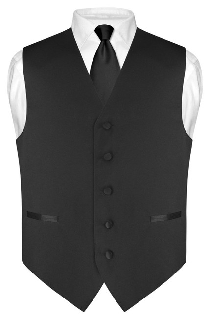 "Mens Dress Vest Skinny NeckTie Solid Black 2.5"" Neck Tie Set"