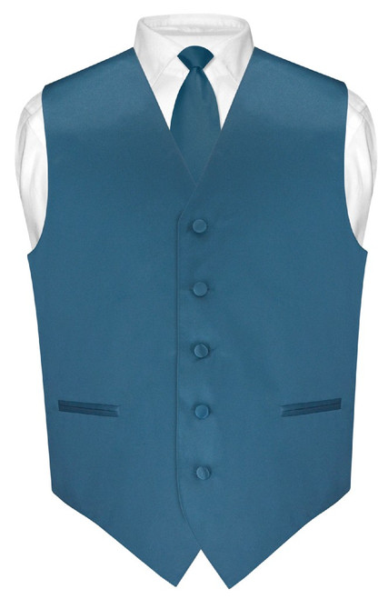 Mens Dress Vest Skinny NeckTie Solid Blue Sapphire Neck Tie Set