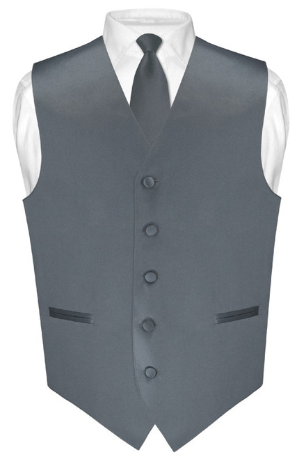 Mens Dress Vest Skinny NeckTie Solid Charcoal Grey Neck Tie Set