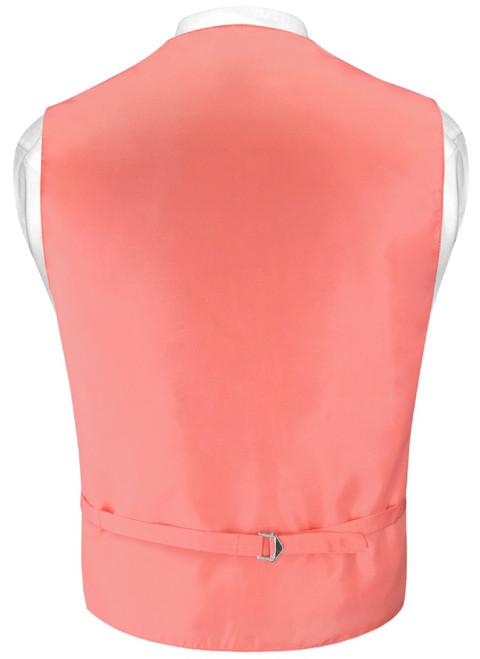 Mens Dress Vest Skinny NeckTie Solid Coral Pink Neck Tie Set