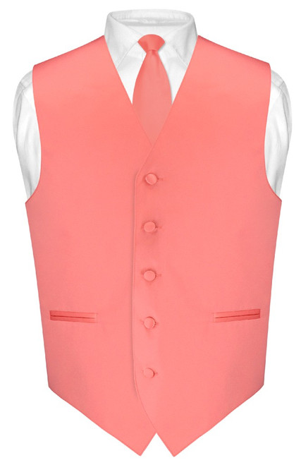 Mens Dress Vest Skinny NeckTie Solid Coral Pink Neck Tie Set