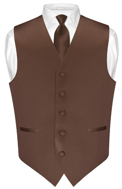 Mens Dress Vest Skinny NeckTie Chocolate Brown Neck Tie Set