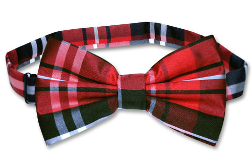 Vesuvio Napoli BowTie Black Red White Color Plaid Design Mens Bow Tie