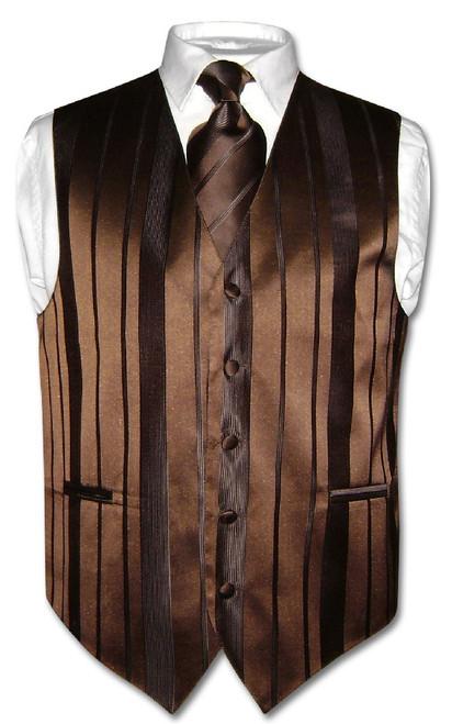 Mens Dress Vest & NeckTie Dark Brown Color Woven Striped Neck Tie Set