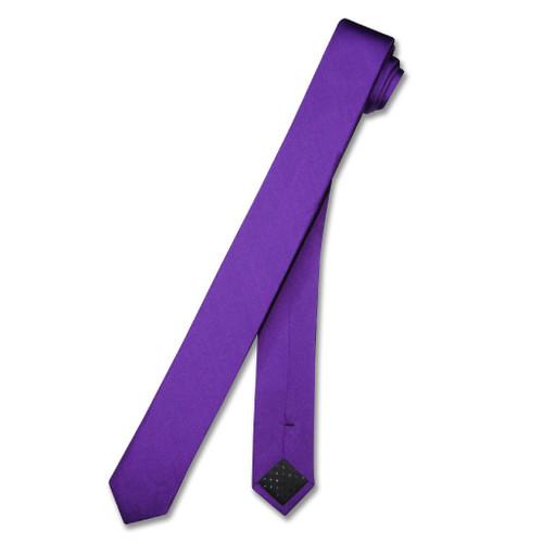 100% Silk Narrow NeckTie Extra Skinny Purple Indigo Color Men Neck Tie