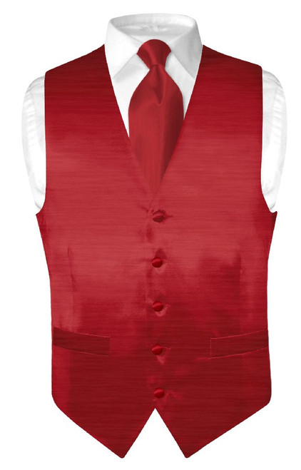 Dark Red Dress Vest | Biagio Mens Bamboo Silk Dress Vest & NeckTie