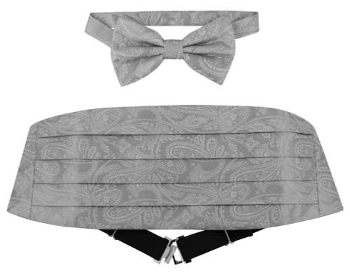 Cumberbund BowTie Silver Gray Paisley Mens Grey Cummerbund Bow Tie Set