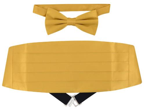 Silk Cumberbund BowTie Solid Gold Color Mens Cummerbund Bow Tie Set