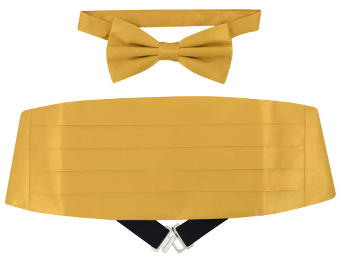Silk Cumberbund BowTie Solid Gold Color Mens Cummerbund Bow Tie Set