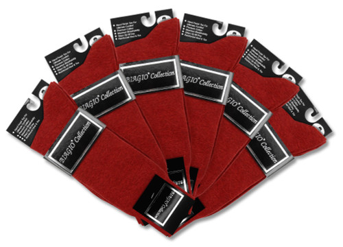 Solid Maroon Color Mens Socks | 6 Pair of Biagio Cotton Dress Socks