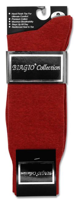 Solid Maroon Color Mens Socks | 1 Pair of Biagio Cotton Dress Socks