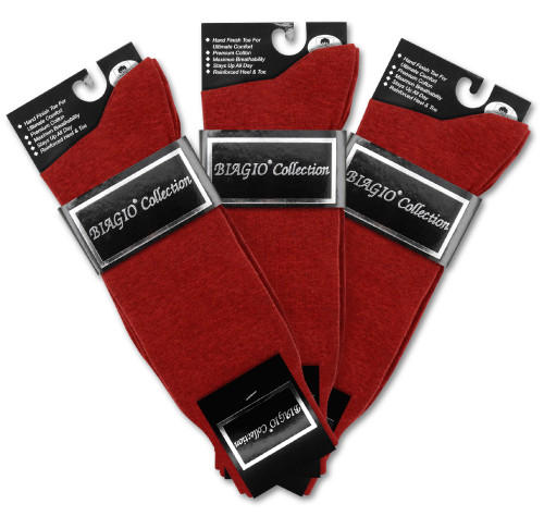 Solid Maroon Color Mens Socks   3 Pair of Biagio Cotton Dress Socks