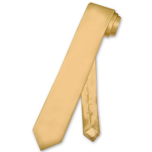 Biagio 100% Silk Narrow NeckTie Skinny Gold Color Mens Neck Tie