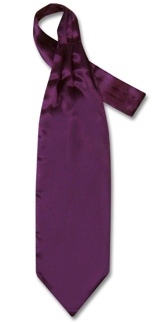 Purple Ascot Ties | Mens Solid Eggplant Purple Cravat Ascot Necktie