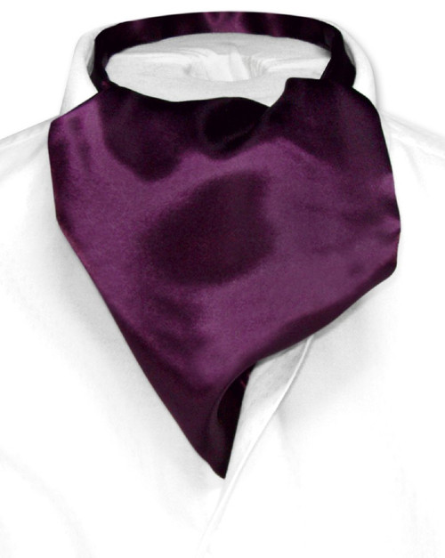 Purple Ascot Ties | Mens Solid Eggplant Purple Cravat Ascot Necktie