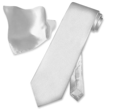 Biagio Silk Solid Silver Grey Color NeckTie Handkerchief Mens Tie Set