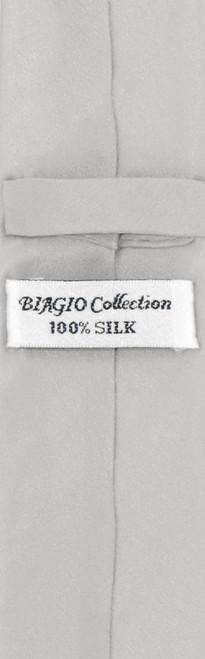 Silver Grey Skinny Tie Handkerchief Set | Silk Necktie Hanky Set