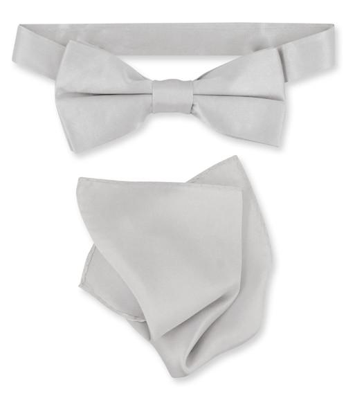 Silver Grey Bow Tie Handkerchief Set   Silk BowTie And Hanky Set