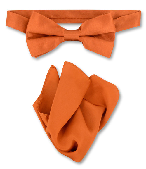 Burnt Orange Bow Tie Handkerchief Set | Silk BowTie Hanky Set