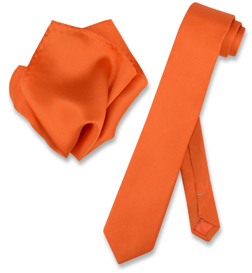 Mens Burnt Orange Skinny Tie Handkerchief Set | Silk Necktie Hanky