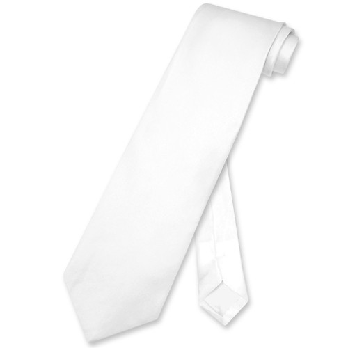 Biagio 100% Silk NeckTie Extra Long Solid White Color Mens XL Neck Tie