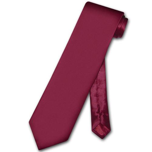 Biagio 100% Silk NeckTie Extra Long Solid Burgundy Mens XL Neck Tie