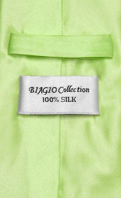 Biagio 100% Silk NeckTie Extra Long Solid Lime Green Mens XL Neck Tie