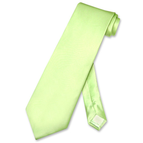 Biagio 100% Silk NeckTie Extra Long Solid Lime Green Mens XL Neck Tie